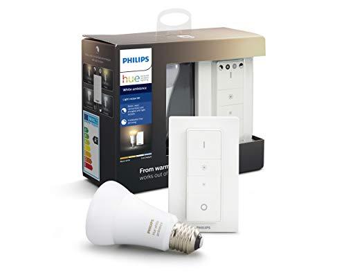 Philips Lighting Hue Kit con 1 Lampadina White Ambiance Connessa, con Bluetooth, da Luce Calda a Fredda, Attacco E27, 8.5 W, + 1 Telecomando Hue Dimmer Switch, Dispositivo Certificato per gli umani