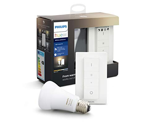 Philips Lighting Hue Kit con 1 Lampadina White Ambiance Connessa, con Bluetooth, da Luce Calda a Fredda, Attacco E27, 8.5 W, + 1 Telecomando Hue Dimmer Switch