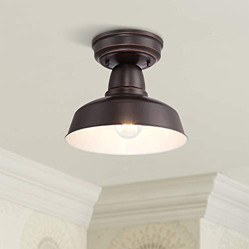 Urban Barn Farmhouse Industrial Outdoor Ceiling Light Fixture Oil Rubbed Bronze Metal 10 1/4
