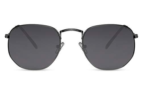 Cheapass Gafas de Sol Gafas Hexagonales Montura Negra Cristales Negros Hombre Mujer...