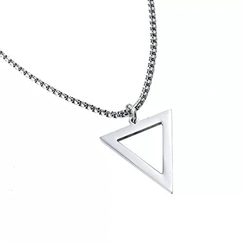 SOTUVO Collar Colgante de triángulo geométrico Negro Simple, Collares para Hombre, joyería Masculina con Cuello Punk de Moda con Cadena de 24 Pulgadas