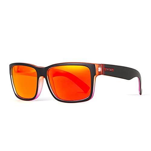 WQZYY&ASDCD Gafas de Sol Gafas De Sol Cuadradas Polarizadas para Hombres, Estilo Deportivo, Gafas De Sol, Conducción, Pesca, Lentes, Gafas Masculinas-C2_Black_Red_Frame