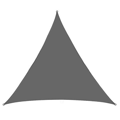 VOXKELY Sonnensegel mit dreieckigem Sonnensegel, 98 % UV-Schutz, wasserdicht, für Garten, Terrasse, Party, mit Seil (2,4 m x 2,4 m x 2,4 m, grau)