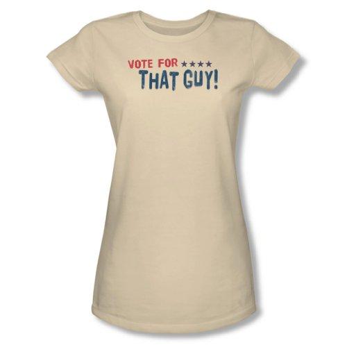 Vote For That Guy - leichtes T-Shirt der jungen Frauen in der Creme, Small, Cream