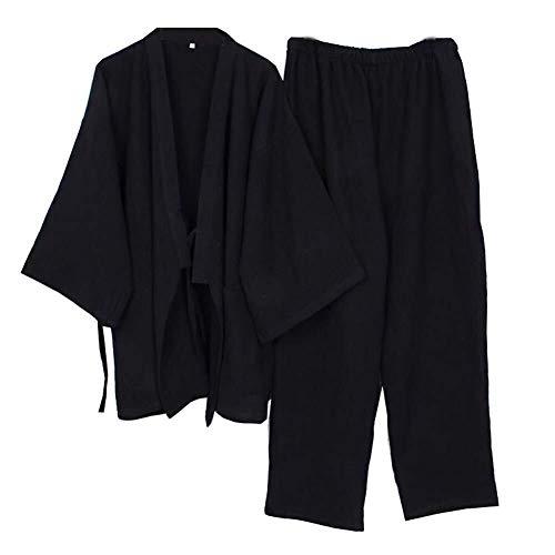 KANJJ-YU Meditación for Hombre japonés Bata Doble Gasa de algodón Bata Kimono Pijamas camisón [Negro, Talla XL] Ropa de baño