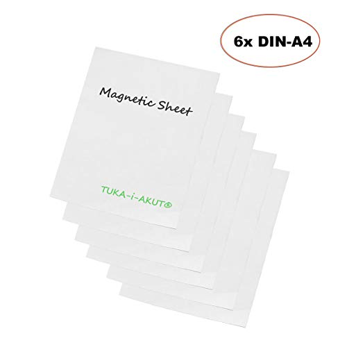 TUKA-i-AKUT 6 Stuks A4 Magneetvellen voor Schrijven, voor Reclame Onderwijs Whiteboard Koelkast Kantoormagazijn, Beschrijfbare en Uitwisbare Magneetfolie Magnetisch Affiche, Wit, TKD9040-white-A4-6x
