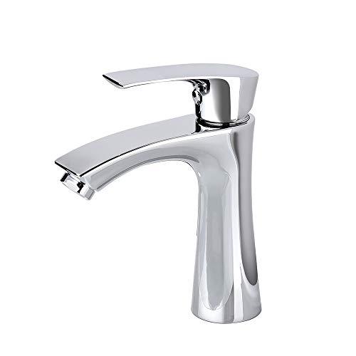 AiHom Kaltwasserhahn Badarmatur für Kaltwasser Armatur Bad Klein Waschtischarmatur nur Kalt Wasserhahn chrom Mischbatterie Einhebelmischer, Gäste WC