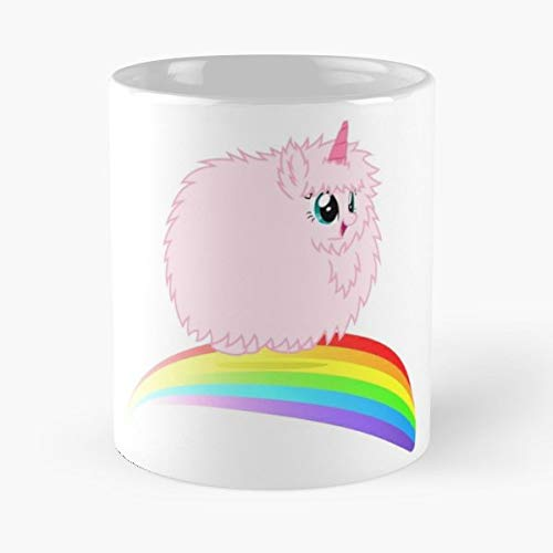 Fluffy Pink Fim Dancing Fluffle Puff Unicorn MLP Best Mug hält Hand 11oz aus weißer Marmorkeramik