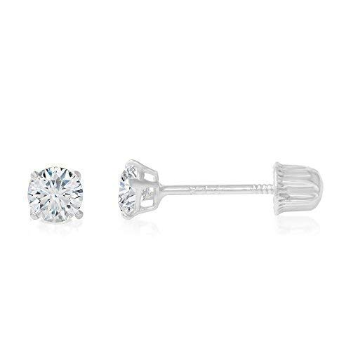 14K White Gold Round Solitaire Cubic Zirconia CZ Stud Screw Back Earrings - 0.05ct (2mm)