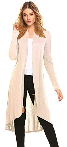 POGTMM Women's Halloween Costumes Cosplay Capes Christmas Long Open Front Drape Lightweight Maxi Long Sleeve Beige Cardigan Sweater(US L(12-14), C-Beige)