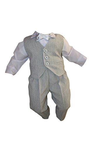 Taufanzug, Festanzug, Jungenanzug, 5tlg, Grau-Weiß, Baby Junge Kinder Taufe Anzug Hochzeit Anzüge K10 Größe 92