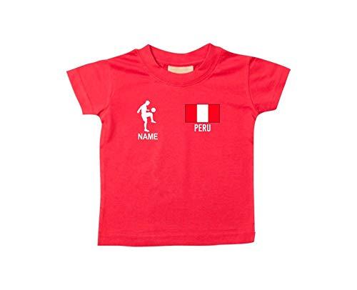 Shirtstown Camiseta Niño Camiseta de Fútbol Perú con Su Nombre Desdeado Estampado - Rojo, 18-24Monate
