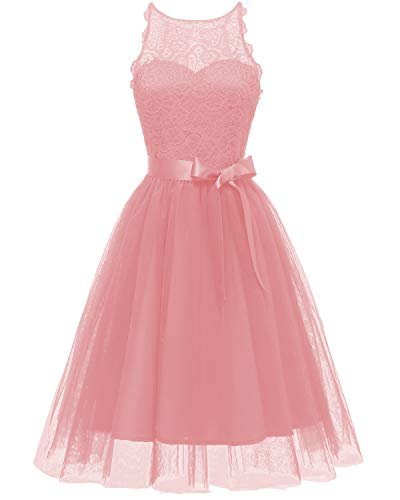 Viloree Elegant Damen Spitze Tüll Kleider Tutu Rock Party Swing Cocktail Knielang Rosa L