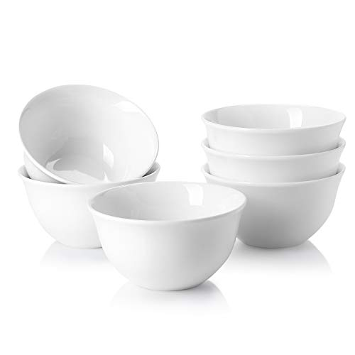 Sweese 122.001 Porcelain Bouillon Cups - 8 Ounce Dessert Bowls - Set of 6, White