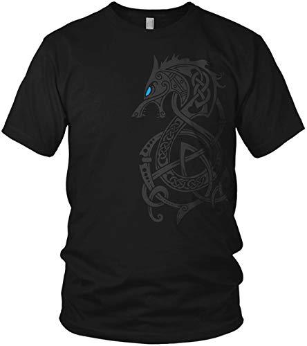 North - Fenriswolf 2.0 Runen Wikinger Fenrir Valhalla Rising Walhalla Vikings Wodan - Herren T-Shirt und Männer Tshirt, Größe:XXL, Farbe:Schwarz/Blau
