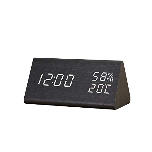 YUYANDE Reloj de Alarma Digital, con Pantalla electrónica de Madera LED, 3 ajustes de Alarma, Humedad y detección de Temperatura, Relojes eléctricos de Madera para cabecera, Negro