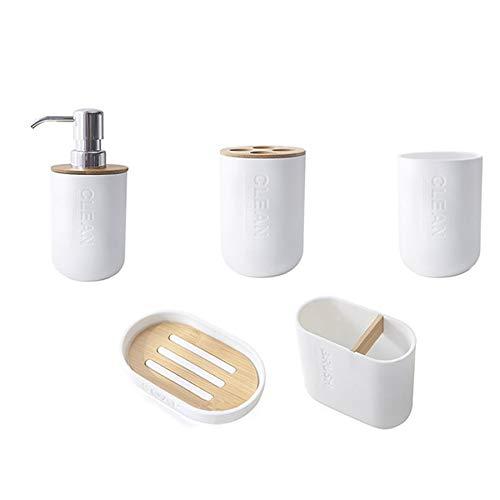 Sonline Lot de 5 accessoires de salle de bain en bambou avec porte-brosse à dents, gobelet, distributeur de savon, bol de salle de bain
