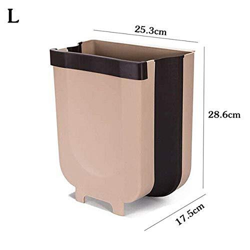 Mdsfe Opvouwbare afvalbak voor het ophangen in de keuken, kunststof, voor badkamer, vuilniszakken voor auto, ruimtebesparend, wit L