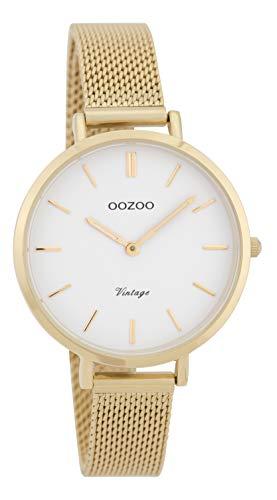 Oozoo Vintage Damenuhr Metallband 34 MM Goldfarben/Weiß/Goldfarben C9827