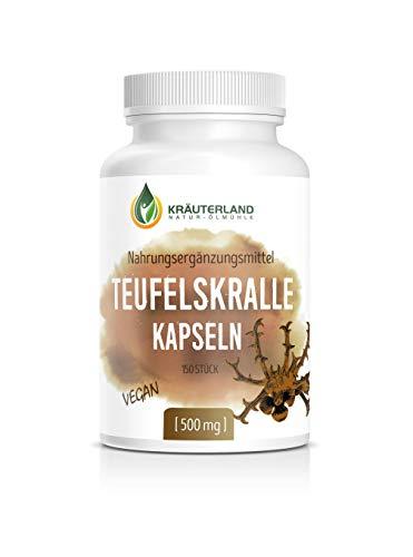 Kräuterland - Teufelskralle 150 Kapseln je 500mg - 100% rein, vegan, hochdosiert mit 1500mg Teufelskrallenwurzel pro Tagesdosis - afrikanische Wurzel Harpagophytum procumbens - Made in Germany