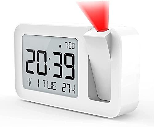 Réveil Projecteur Plafond, Réveil Numérique avec thermomètre d'intérieur à Projection à 180 °, 4 luminosités réglables,Réglage du Volume,réglage 12/24H, Snooze Function pour Le Bureau de la Chambre