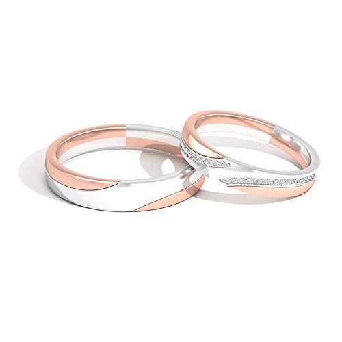 IGI Certified Diamond Bandas de compromiso a juego, conjunto de anillos de oro de metal mixto, IJ-SI Color Clarity Diamond Band Anillos de eternidad, anillo de aniversario, 14K Oro blanco, Size:EU 48