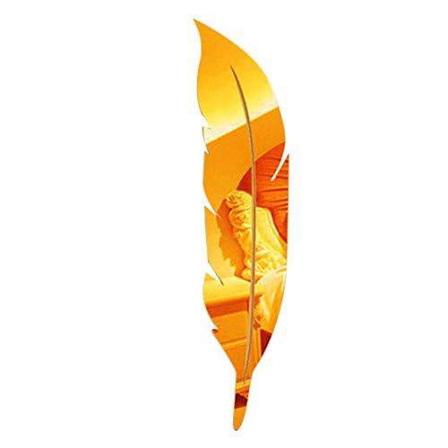 DIY pluma 3D espejo pared pegatina sala de estar artista decoración del hogar vinilo adhesivo acrílico Mural decoración de pared-gold_15.3x72cm