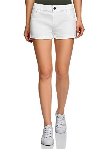 oodji Ultra Damen Baumwoll-Shorts, Weiß, Herstellergröße DE 38 / EU 40 / M