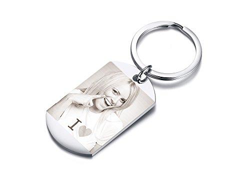 VNOX Personalisierte Benutzerdefinierte Gravur Edelstahl Hundemarke Schlüsselbund Benutzerdefinierte Foto und Text Schlüsselanhänger für Männer