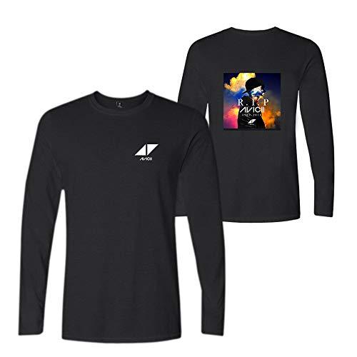 DJ Avicii T-Shirt Neue Persönlichkeitstendenz Langhülse T-Shirt Männer und Frauen mit dem gleichen Absatz Baumwollt-Shirt (Color : Black01, Size : L)