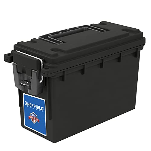 Sheffield 12629 Field Box, Pistol, Rifle, or Shotgun Ammo Storage Box, Tamper-Proof Ammo Can with 3 Locking Options, Stackable and Water Resistant, Made in The USA, Black