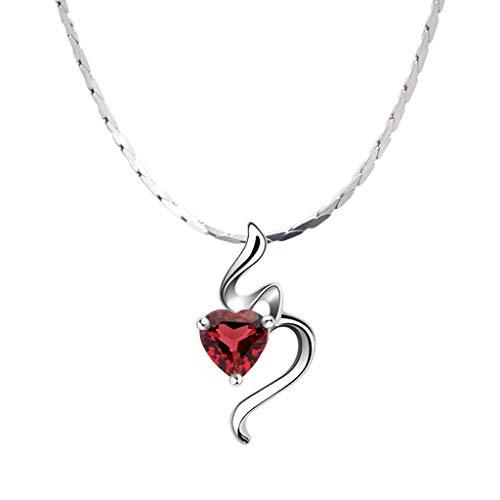 """zlw-shop Collar de Mujer El Amor del Corazón Colgante Collar Hecho con Granate Regalos de la joyería for Las Mujeres, Collar de Plata de 18""""/ 16"""" Collares Pendientes (Size : 40cm)"""