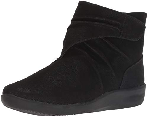 Clarks Women's Sillian Tana Fashion Boot, Black Synthetic Nubuck, 080 M US