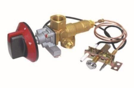 LQW HOME Terrassenheizer-Zubehör Messing Sicherheit Flameout Schutz Gasventil mit Piezozündung 100000BTU LPG/NG-Ventil draußen