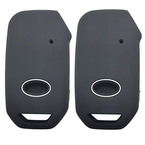 2x Coolbestda Push Start Rubber Key Fob Cover Keyless Entry Remote Protector for 2019 2020 2021 Kia Telluride Seltos Soul Forte GT EX Sportage Sorento Cerato Niro (Key in ignition OR Flip Key NOT FIT)