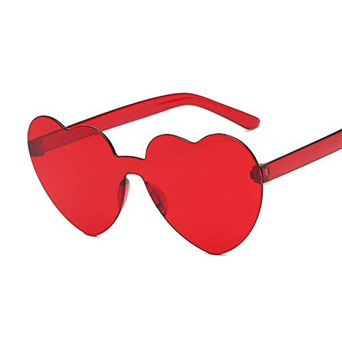 Sunwd Gafas de Sol para Hombre y Mujer, New One Piece Love Heart Lens Sunglasses Women Transparent Plastic Glasses Style Sun Glasses Female Clear Candy Color Lady Wine red