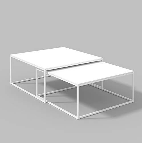 LUK Furniture Kaffeetisch Yoshi 2in1 - Hochglanz, Couchtisch Wohnzimmertisch Salon Wohnzimmer (weiß)