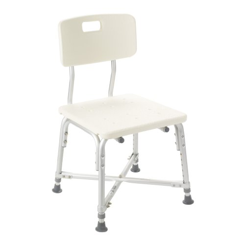 Drive Medical Heavy Duty Bariatric Bath Bench with Back, White Deluxe Bariatric Bath Bench