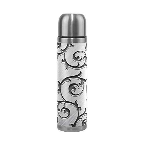 XiangHeFu Reisebecher Sport Auslaufsicher Kaffee Metall Rattan Silber Thermoskanne Halten Sie kalte oder heiße Wasserflasche 17oz