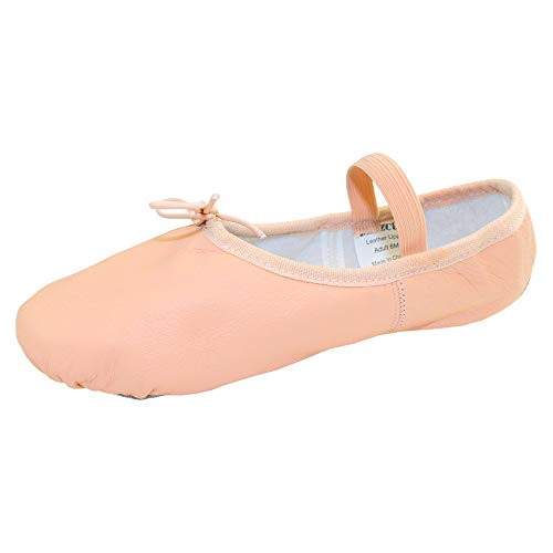 Danzcue Adult Full Sole Leather Pink Ballet Slipper 4.5 M US