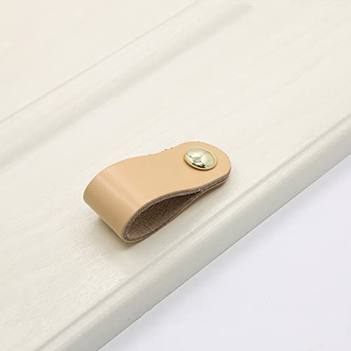 TEBX Paquete de 12 tiradores de cajones y pomos de cuero suave para gabinete, pomos de puerta de armario minimalistas (marrón)