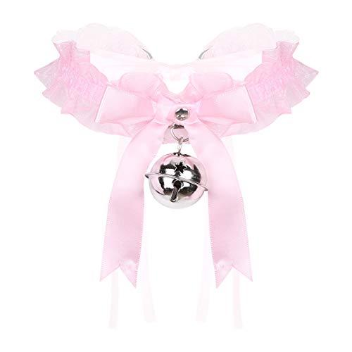 dPois Damen Halsband Choker Halsschmuck mit Glocken Schleife Rüschen Rococo Stil Katze Babydoll Dienstmädchen Cosplay Kostüm Zubehör Rosa One Size