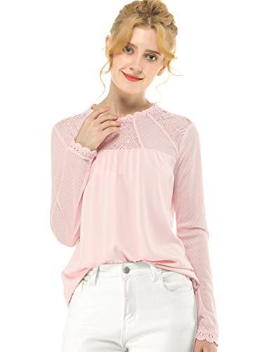 Allegra K Damen Langarm Crew Neck Panel Spitze Blumen Top Bluse Rosa S