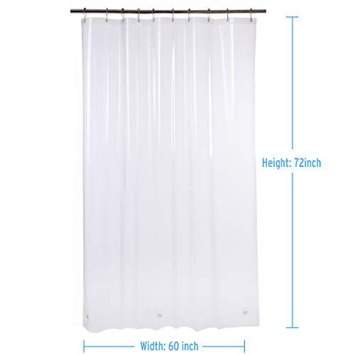 AmazerBath Plastic Shower Curtain, 60 x 72 Inches EVA 8G Thick Bathroom Plastic Shower Curtains with Heavy Duty Clear Stones and 10 Grommet Holes-Clear