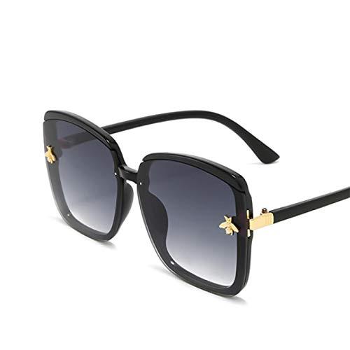 NJJX Gafas De Sol De Ojo De Gato Para Mujer, Gafas De Sol De Abeja, Gafas Graduadas Sin Montura Vintage Para Mujer, Negro