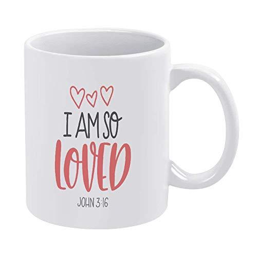 I Am So Loved Bible Taza de café Taza, fe cristiana, versículo Taza de cerámica de 11 oz Taza de bebida de té para el hogar y la oficina, cumpleaños, aniversario, Halloween, Navidad, idea de regalo de