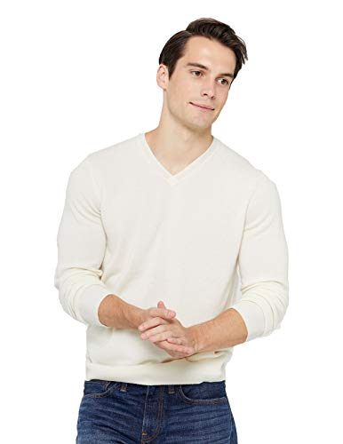 White Cashmere Sweater for Men's
