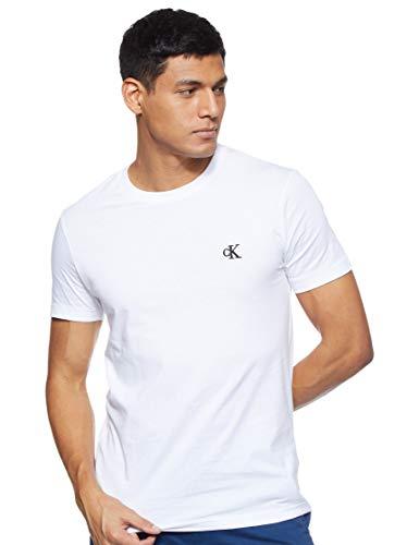 Calvin Klein CK Essential Slim Tee Maglietta, Bianco (White), L Uomo