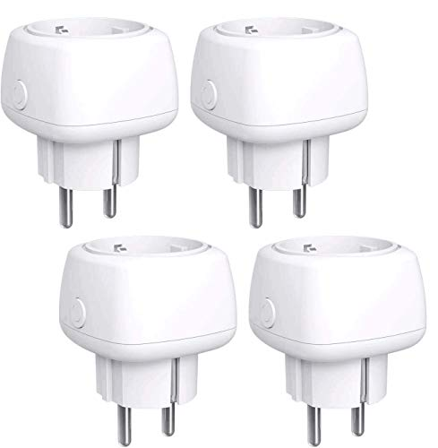 Enchufe Inteligente Mini Enchufe Wi-Fi 10A, con Control Remoto Meross app, Compatible con Alexa, Google Assistant y SmartThings, Wi-Fi Smart Plug, Paquete de 4.