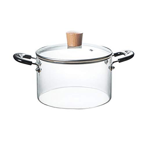 Glas Kochtopf mit Deckel, handgefertigtem Glas Topf mit Griff und Dampf-Loch - Leichte, gesunde, für kleine Portionen oder Machen Sie Tee - Cookie Jar, Süßigkeiten Container,2L